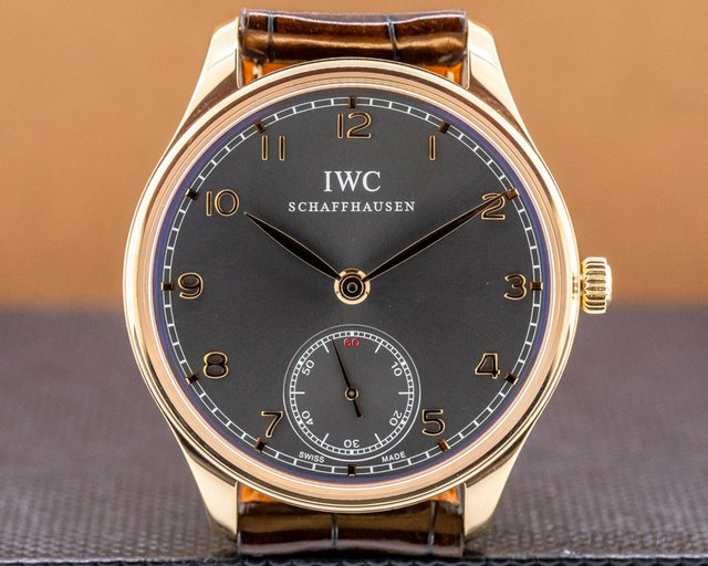 IWC IW545406 Portuguese Hand Wound Silver Dial 18K RG Deployant
