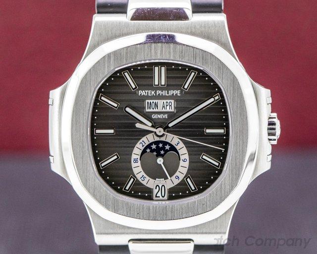 Patek Philippe 5726A-001 Nautilus Annual Calendar 5726 Moon SS Grey Dial