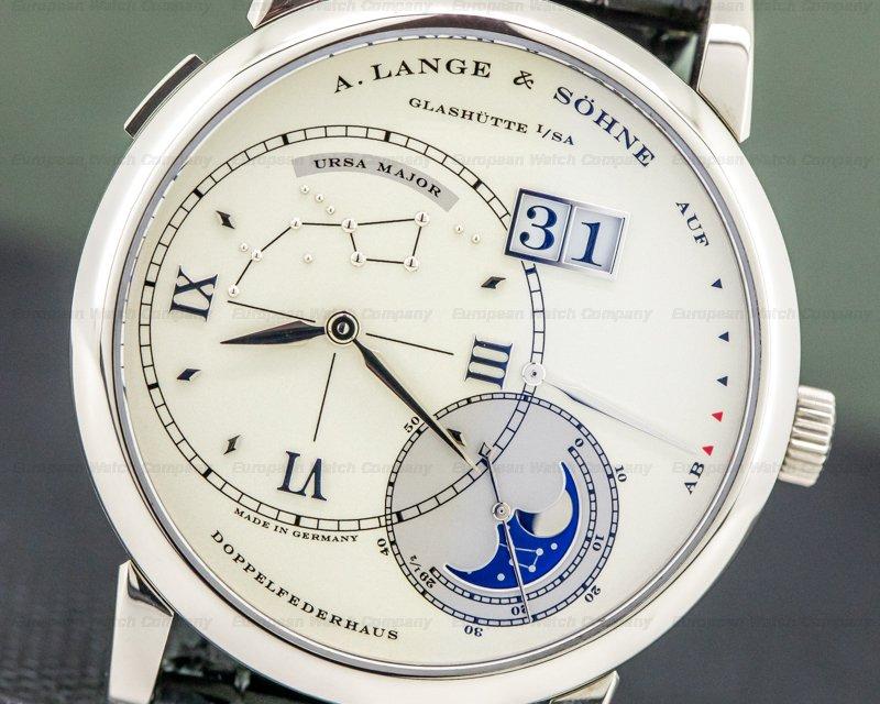 A. Lange and Sohne 119.026, 119.032 Lange 1 Luna Mundi 18k Rose & White Gold LIMITED FULL SET