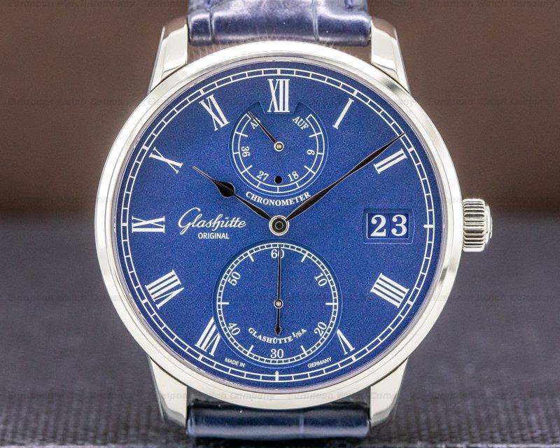 Glashutte Original 1-58-01-05-34-30 Senator Chronometer 18K White Gold Blue Dial