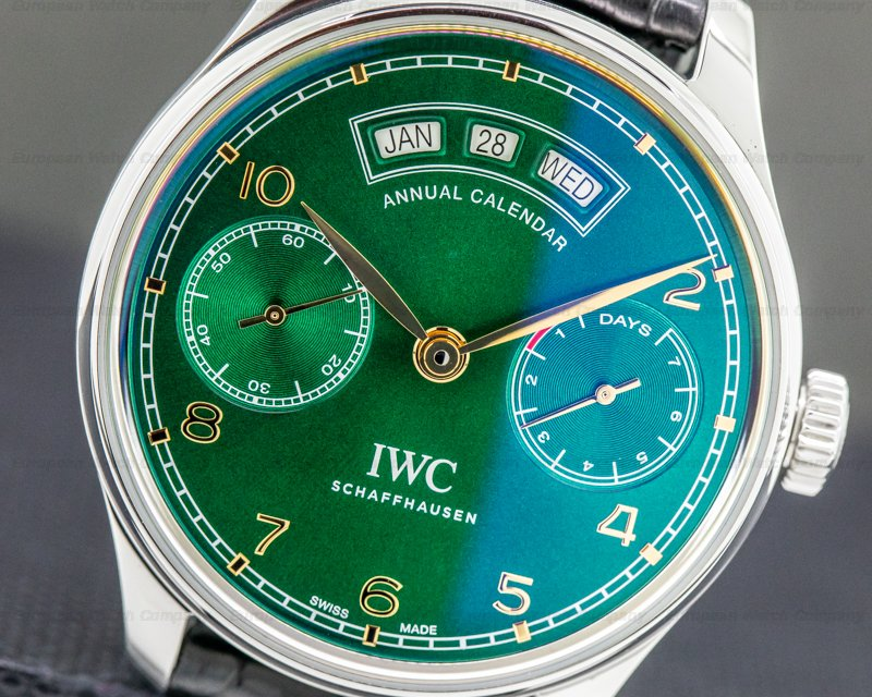 "IWC IW503510 Portuguese Annual Calendar SS Limited Green Dial ""Middle East"""
