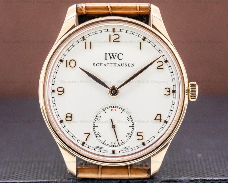 IWC IW545409 Portuguese Hand Wound Silver Dial 18K RG Deployant