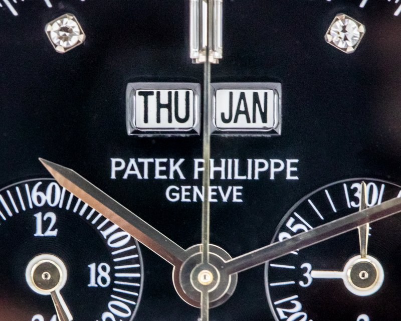 Patek Philippe 5021P Platinum Diamond Set 5021 Cushion Perpetual Calendar Black Dial RARE