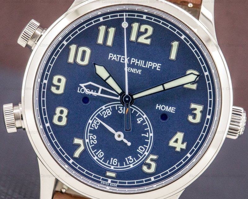 Patek Philippe 5524G-001 Calatrava 5524G Pilot Travel Time 18k White Gold