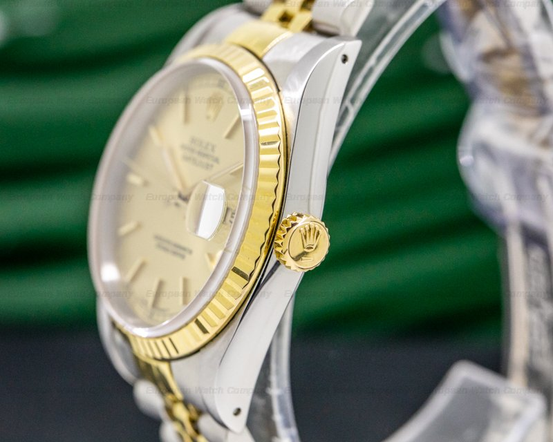 Rolex 16233 Datejust Gold Dial Stick Markers 18K / SS