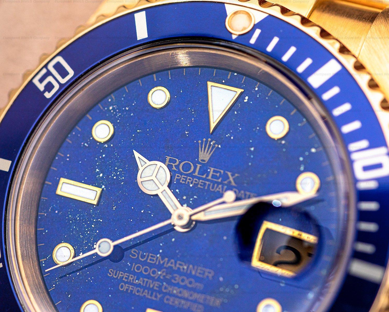Rolex 16618 LAPIS Rolex Submariner 16618 LAPIZ LAZULI 18K Yellow Gold FULL SET WOW
