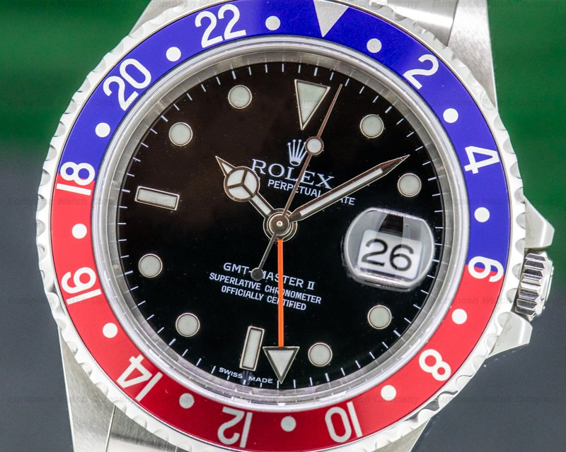 Rolex 16710B GMT Master II SS Red / Blue Pepsi Bezel FULL SET SHARP