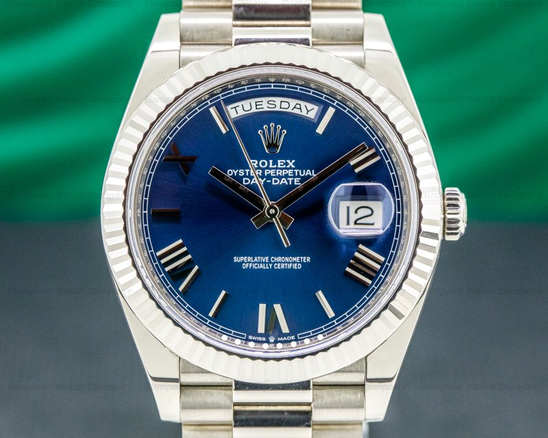 Rolex 228239 Day Date 228239 President 18K White Gold Blue Dial 40MM