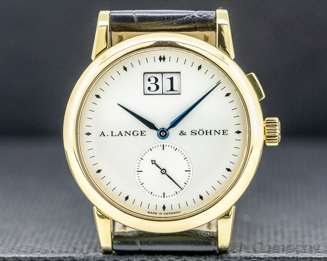 A. Lange and Sohne 105.022 Saxonia Manual Wind 18K Yellow Gold BLUE HANDS