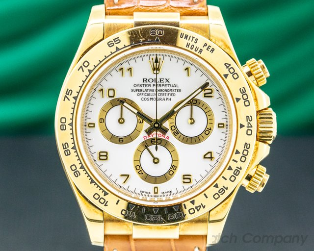 Rolex 116518 Daytona 116518 Yellow Gold / Alligator TOP CONDITION FULL SET