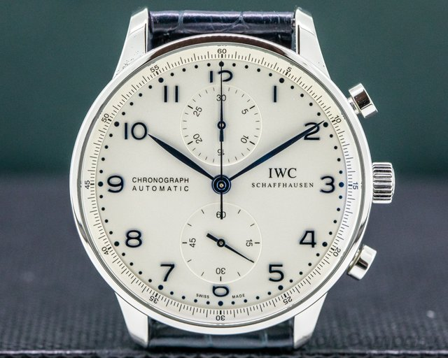 IWC IW371446 Portuguese Chronograph SS Silver Dial / Blue Numerals