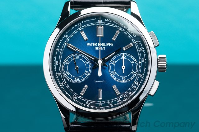 Patek Philippe 5170P-001 TIFFANY Chronograph Platinum 5170P Blue Diamond Dial TIFFANY & CO