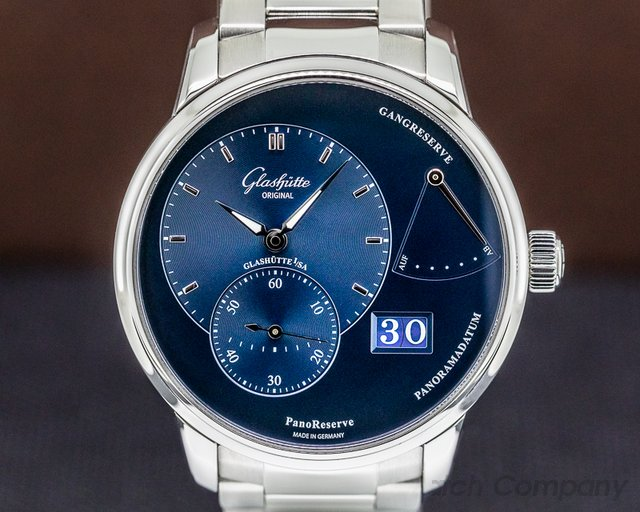 Glashutte Original 1-65-01-26-12-70 PanoReserve Manual Wind Blue Dial SS 40MM