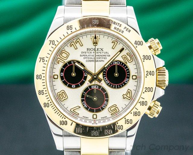 "Rolex 116523 Daytona White ""PANDA"" Dial 18K Yellow Gold / SS FULL SET"