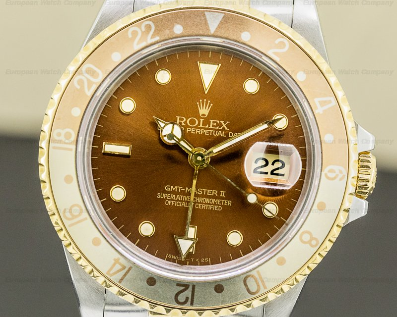 Rolex 16713 GMT Master II Root Beer Dial 18K / SS Beautiful Faded Bezel
