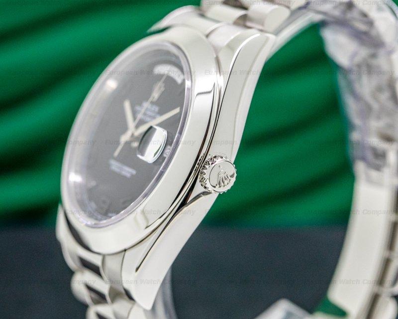 Rolex 218206 Platinum Day Date II Black Dial Arabic Numerals RARE