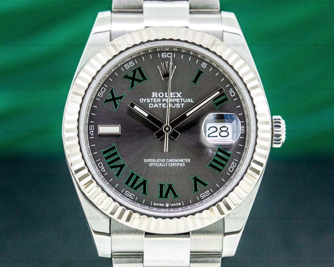 Rolex Datejust 41 126334 Rhodium Green Roman Numerals Dial Oyster Ref. 126334