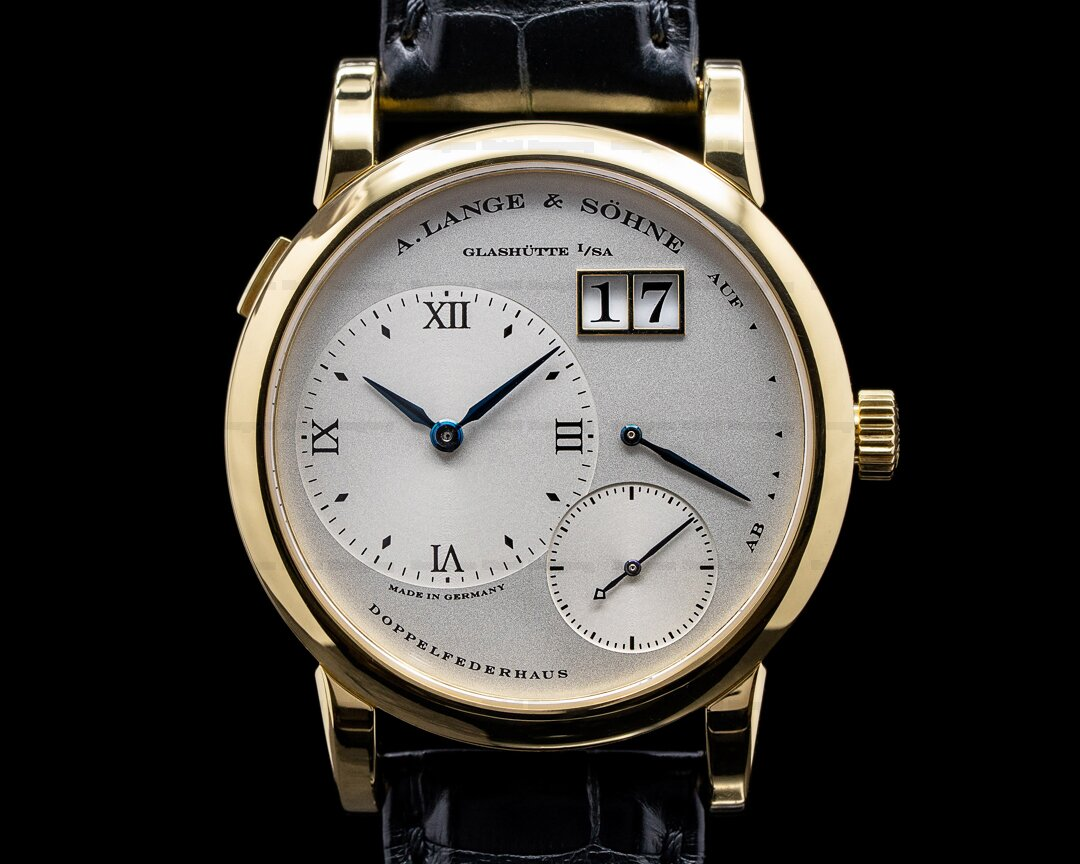 A. Lange and Sohne Lange 1 101.022 18K Yellow Gold Blue Hands Silver Dial + Deployant Ref. 101.022