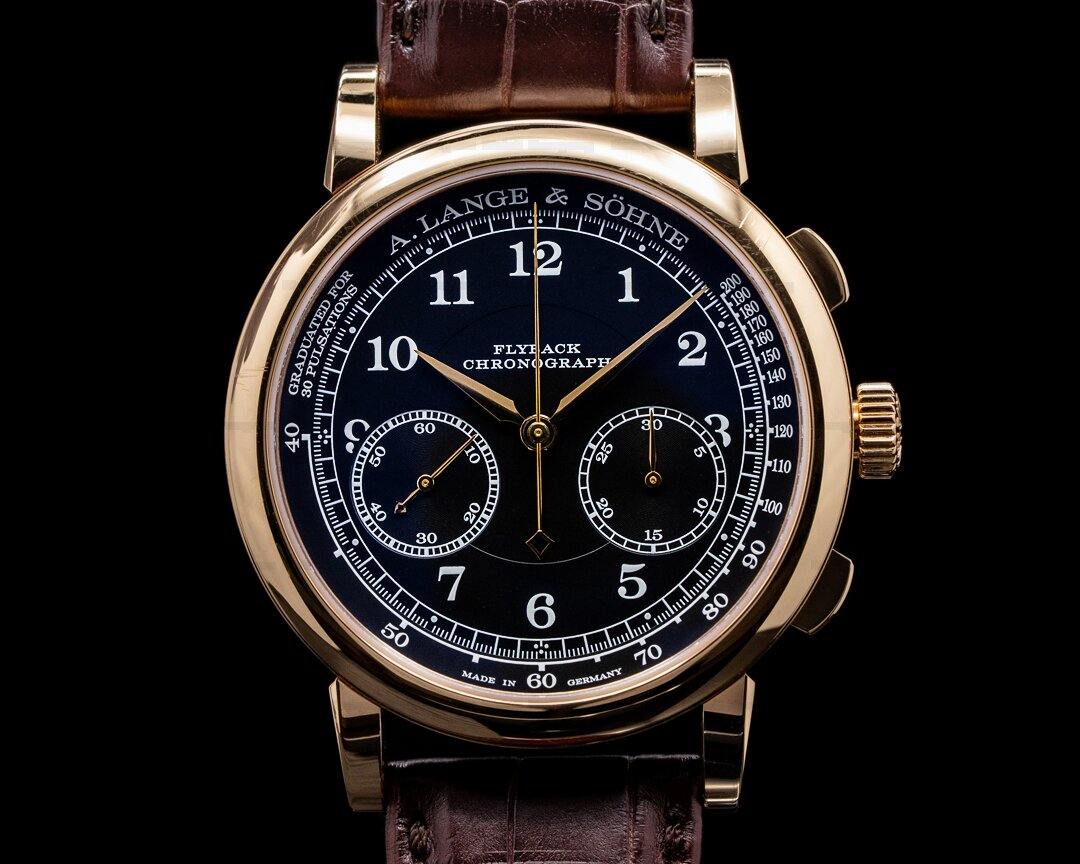 A. Lange and Sohne 1815 Flyback 414.031 Chronograph Black Dial 18K Rose Gold Ref. 414.031