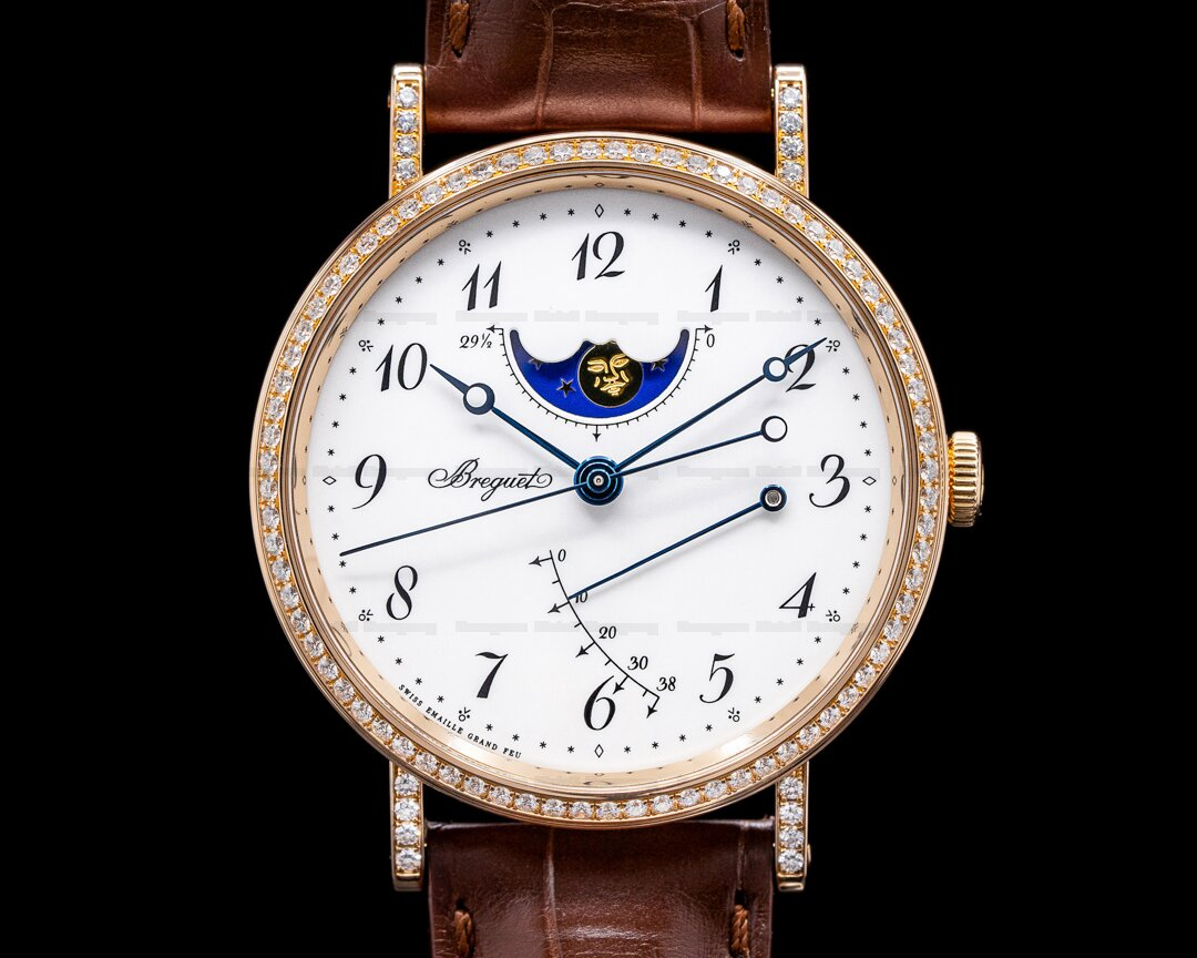 Breguet Classique Moonphase 18K Rose Gold Enamel Dial Diamonds Ref. 7788BR/29/9V6DD00