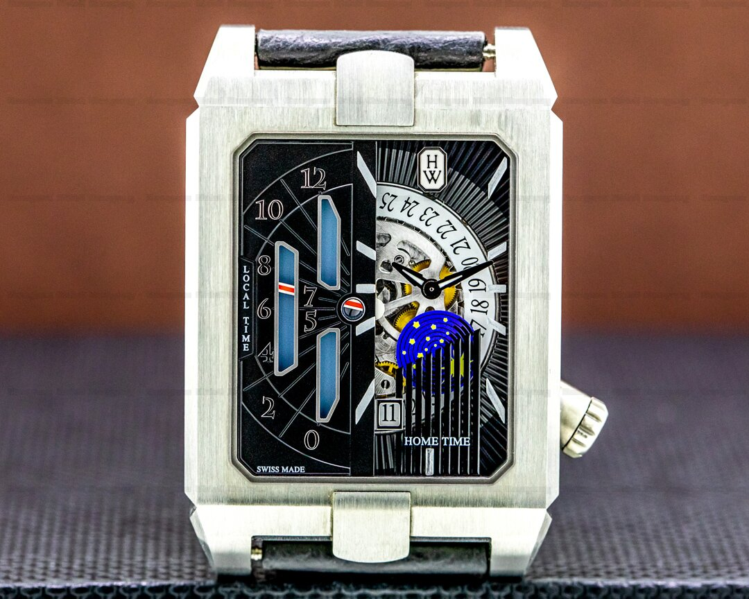 Harry Winston Avenue Dual Time Automatic Zalium Case Deployant Ref. AVEATZ37ZZ001