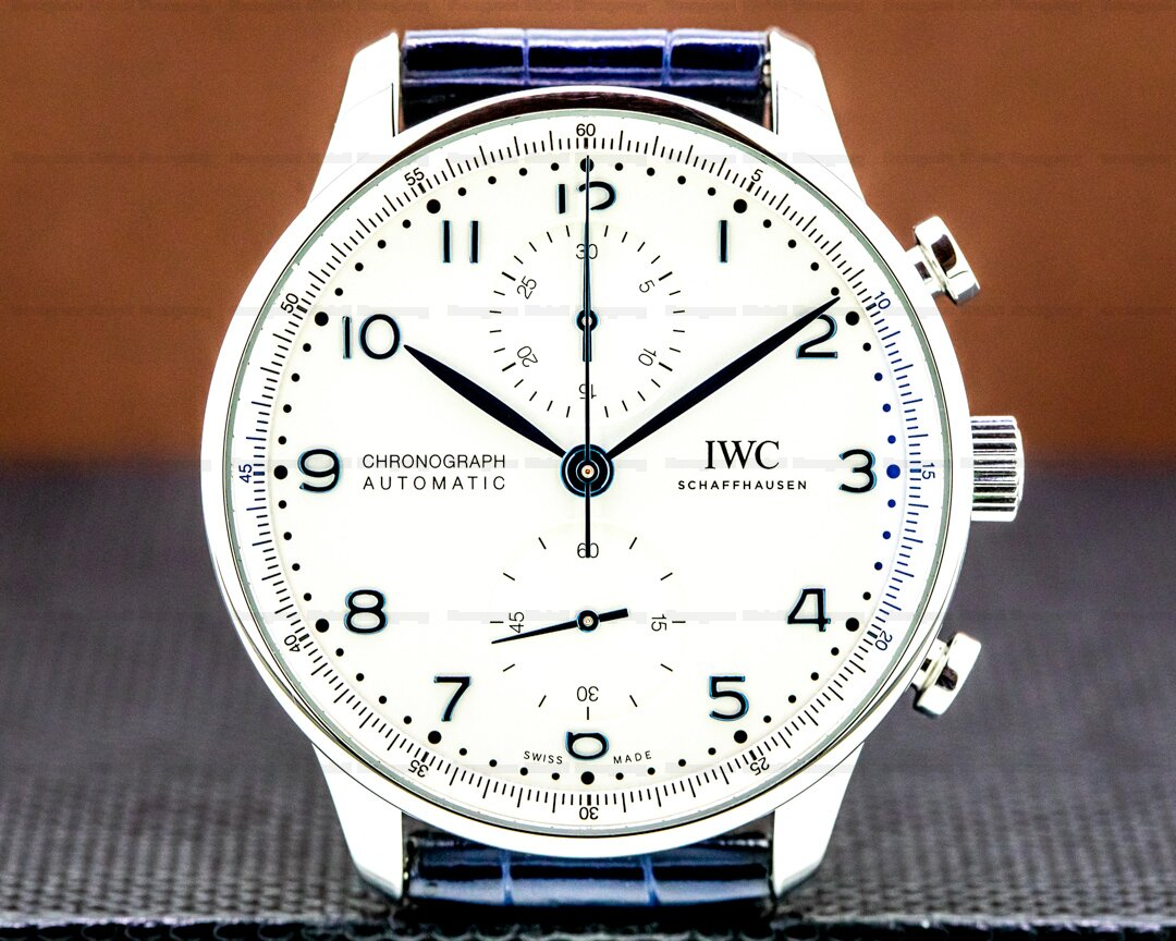 IWC Portuguese Chronograph SS Silver Dial / Blue Numerals NEW MODEL Ref. IW371605