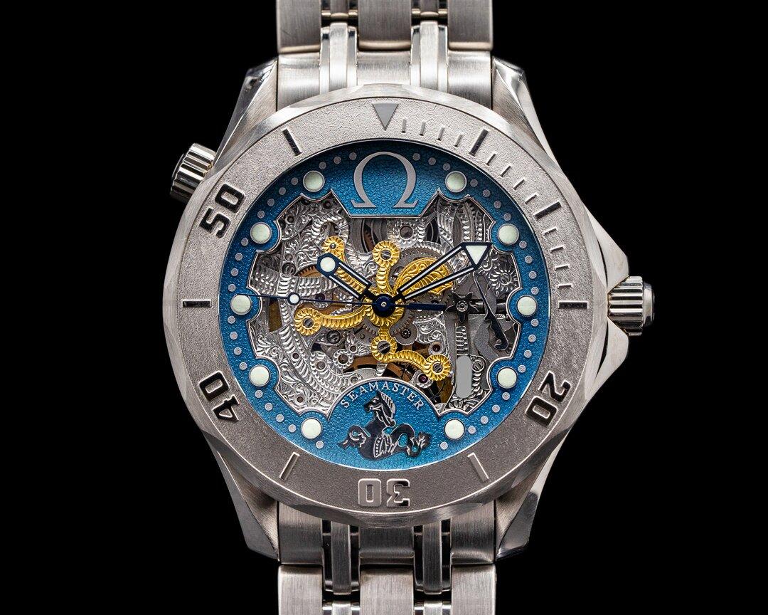 Omega Seamaster Diver Skeleton 50th Anniversary 18KWG 2932.80.00 RARE Ref. 2932.80.00