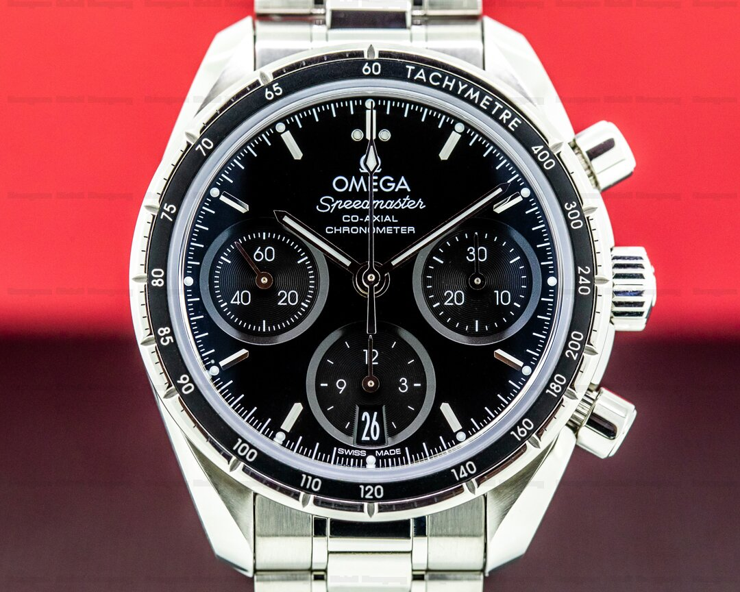 Omega Speedmaster 38 Co-Axial Chronograph Black Dial SS Bracelet Ref. 324.30.38.50.01.001