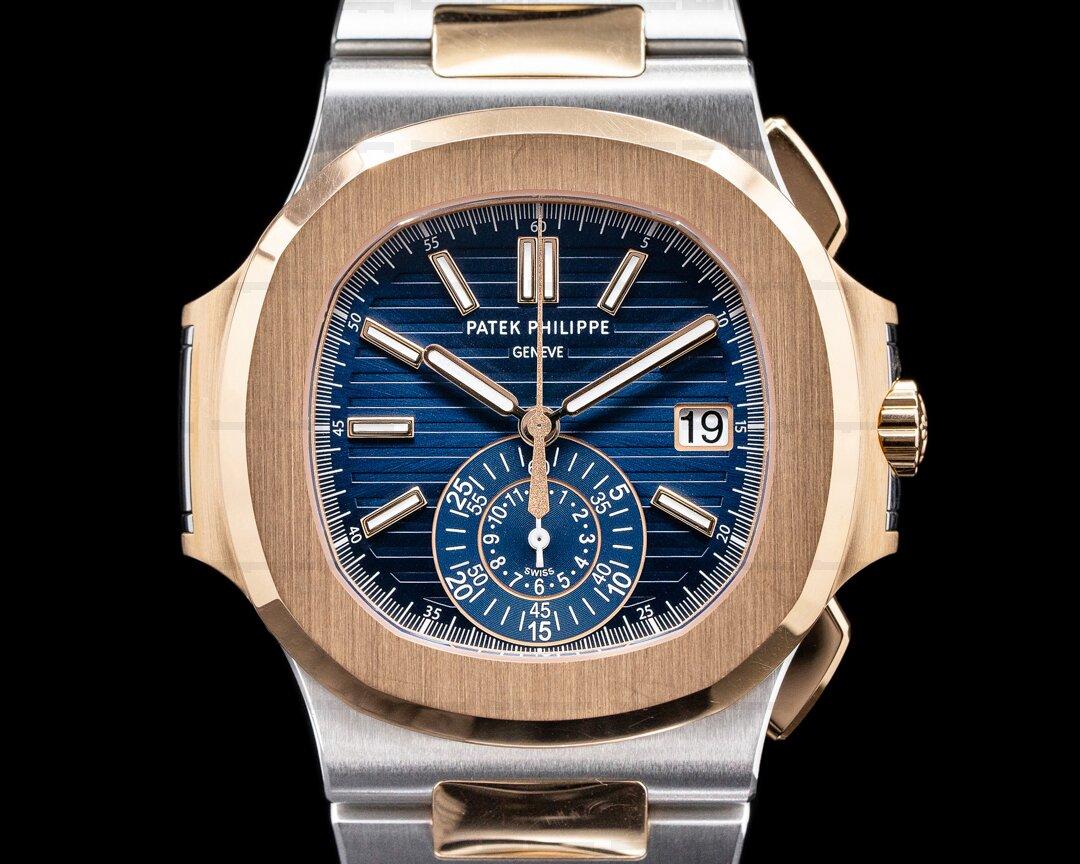 Patek Philippe Nautilus 5980/1AR Chronograph Blue Dial 18K Rose Steel UNWORN Ref. 5980/1AR-001