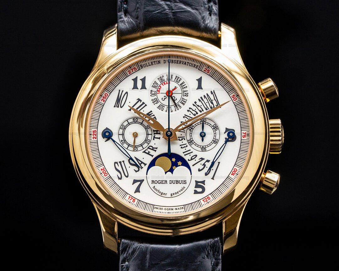 Roger Dubuis Hommage H40 18K Rose Gold Perpetual Calendar Bi Retrograde RARE FULL SET Ref. H40 5632 5