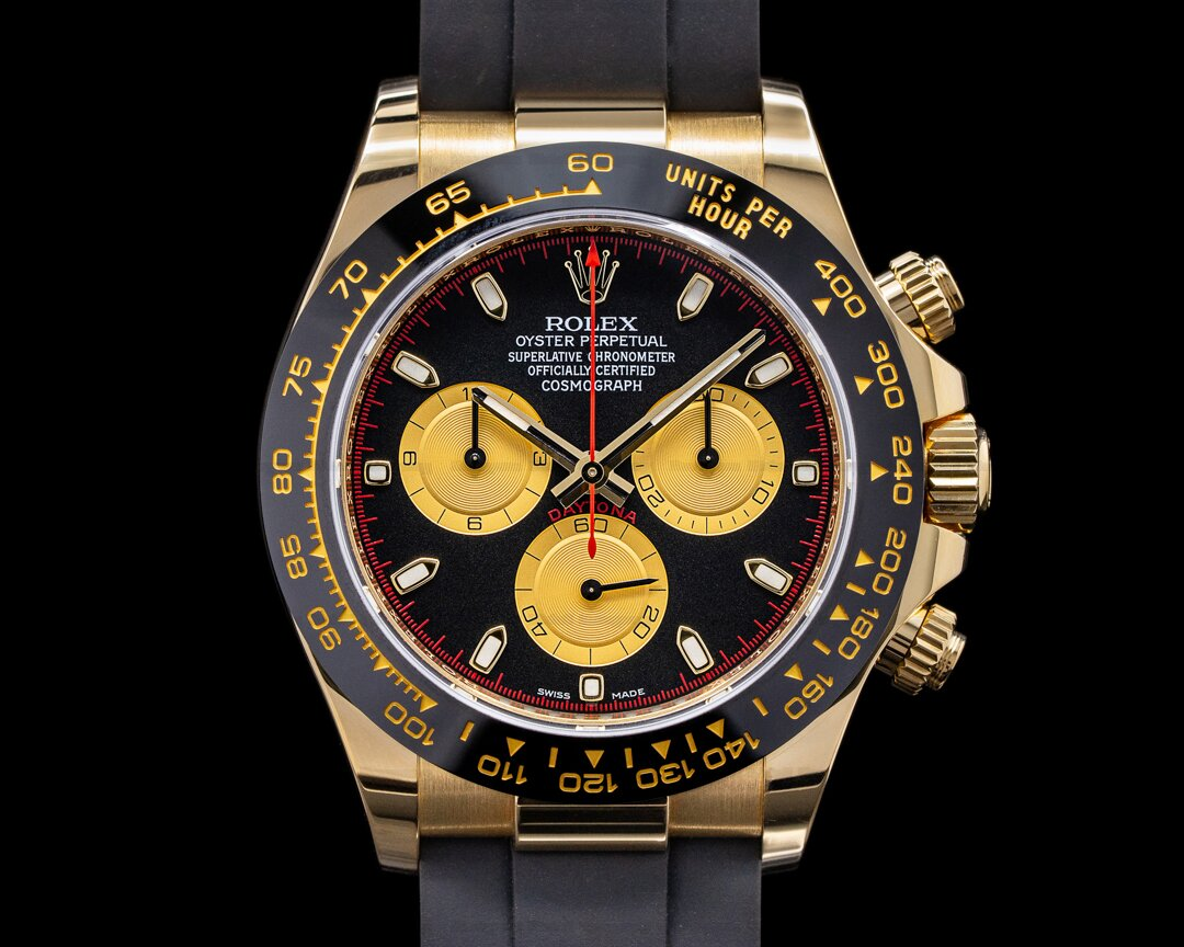 Rolex Daytona 116518LN Black Dial 18K Yellow Gold / Rubber Ref. 116518LN