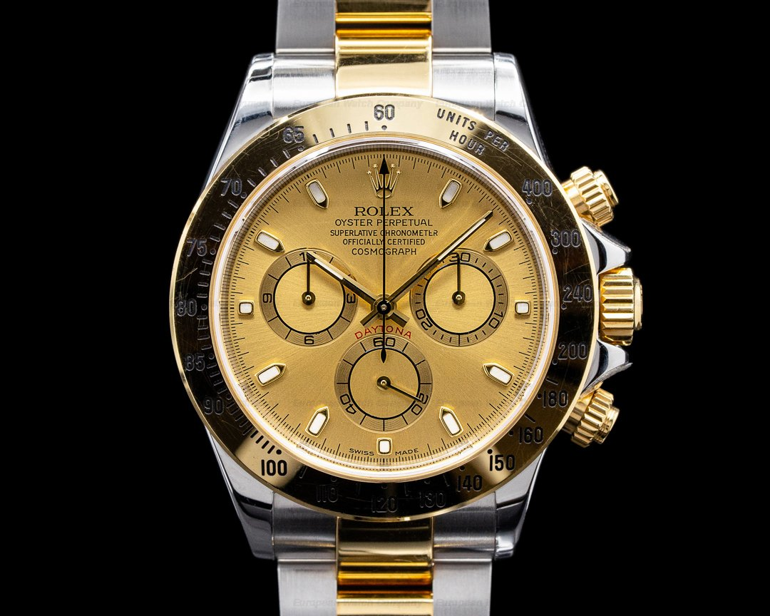 Rolex Daytona Champagne Dial 18K Yellow Gold / SS FULL SET VERY SHARP SERVICED Ref. 116523