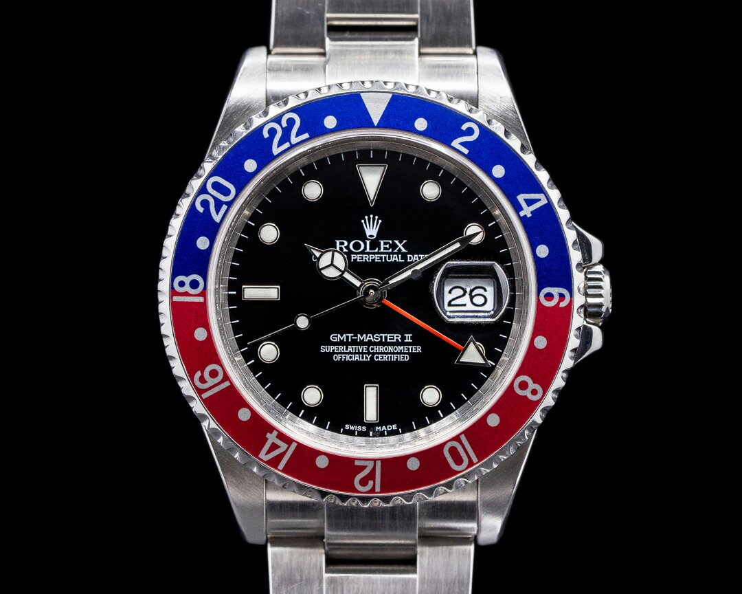 Rolex GMT Master II 16710 SS Red / Blue Pepsi Bezel FULL SET Ref. 16710