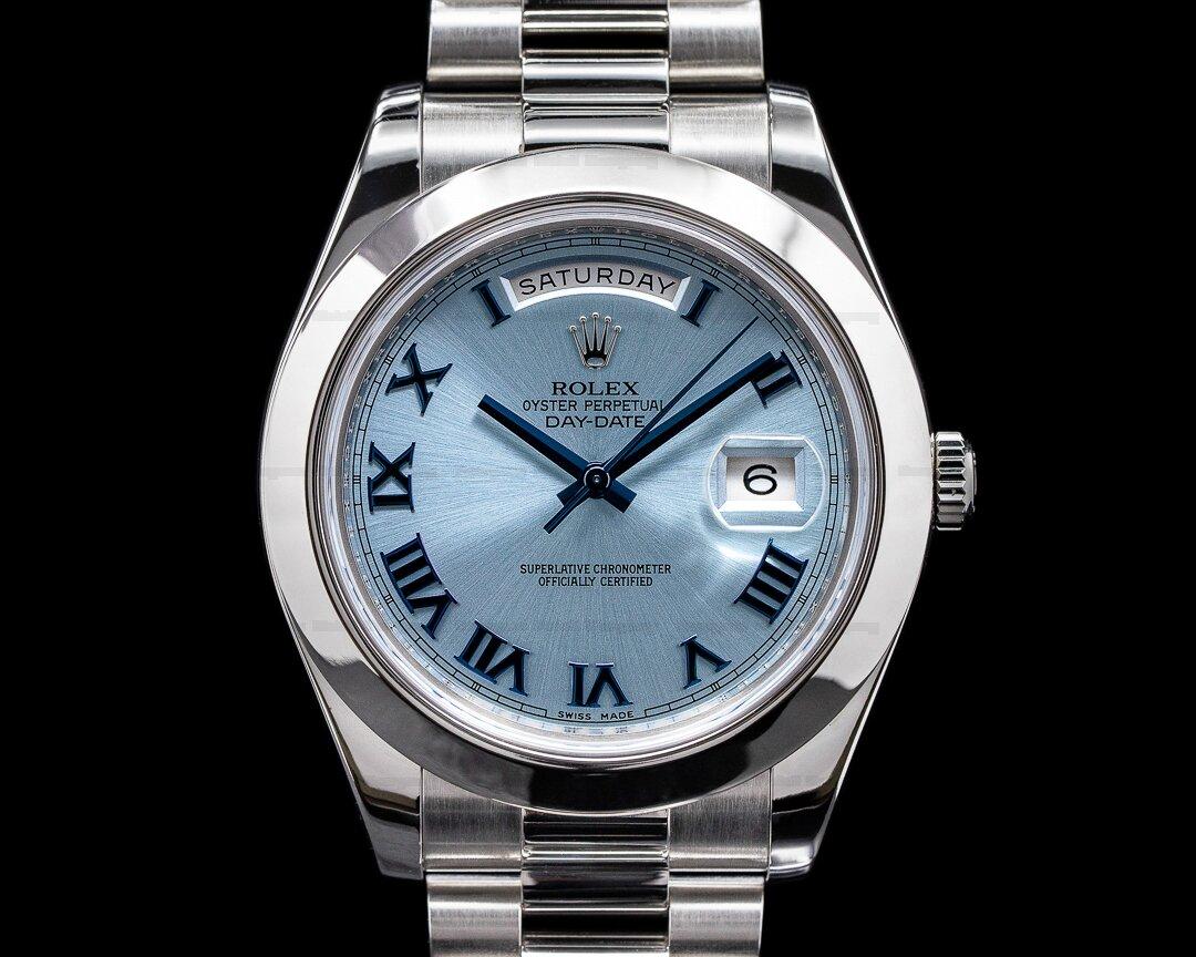 Rolex Platinum Day Date II Glacier Dial Roman Numerals Ref. 218206