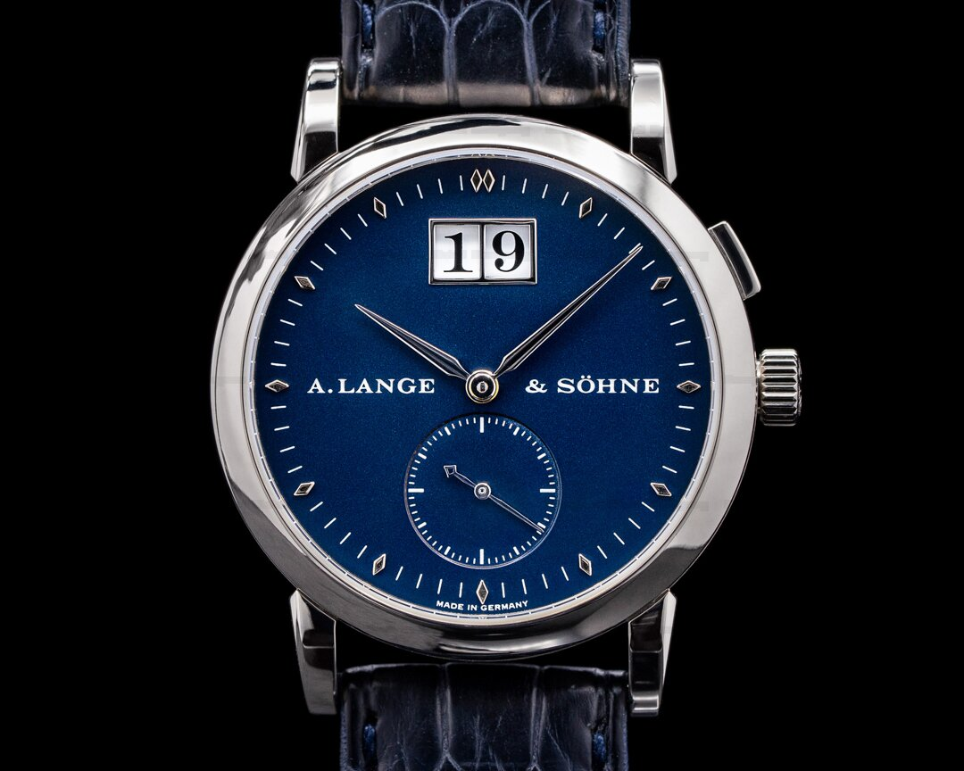 A. Lange and Sohne Saxonia 105.027 White Gold Blue Dial FULL SET RARE Ref. 105.027