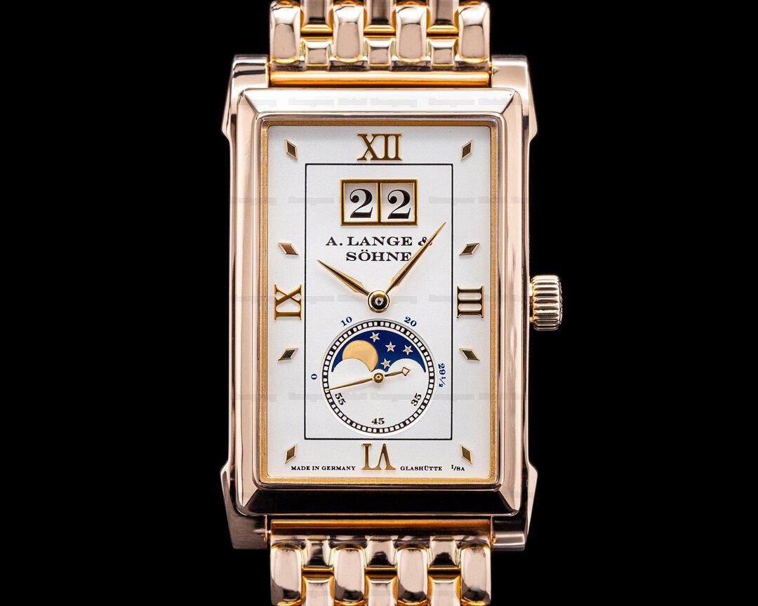 A. Lange and Sohne Cabaret 118.121 Moonphase 18K Rose Gold / Bracelet RARE Ref. 118.121