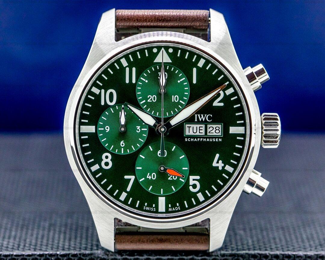 IWC Pilots Watch Chronograph 41mm SS Green dial UNWORN Ref. IW388103