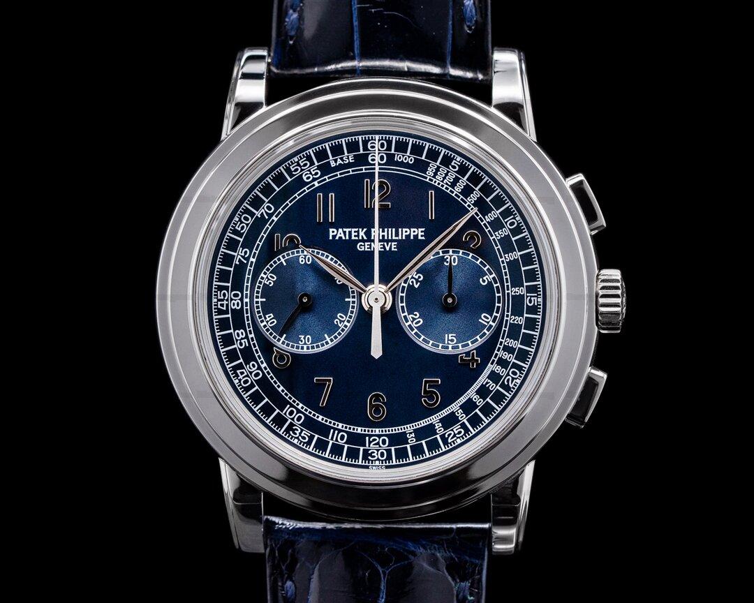 Patek Philippe 5070P Platinum Blue Dial Chronograph FULL SET UNPOLISHED Ref. 5070P