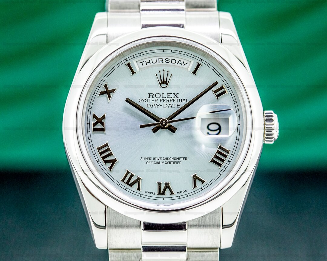 Rolex President 118206 Platinum Glacier Roman Dial Ref. 118206
