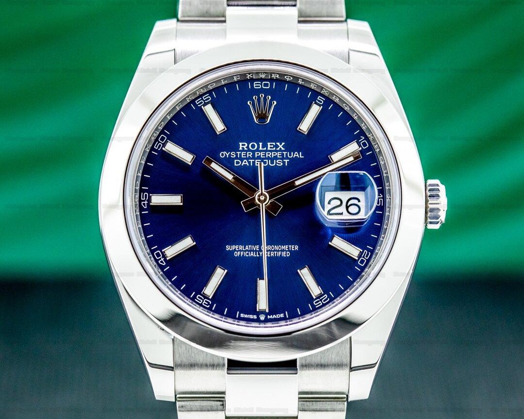 Rolex Datejust 41 Blue Stick Dial SS Oyster Ref. 126300