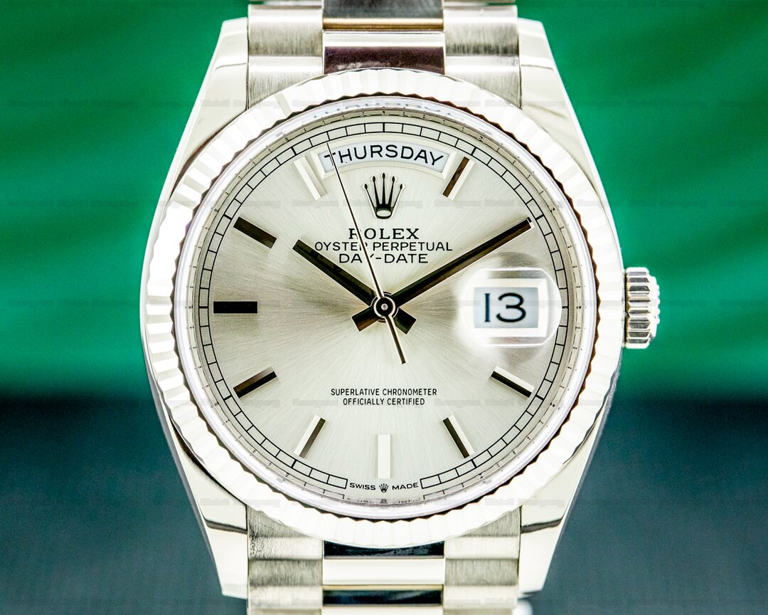 Rolex Day Date 128239 President 36mm Silver Dial 18K White Gold 2020 Ref. 128239