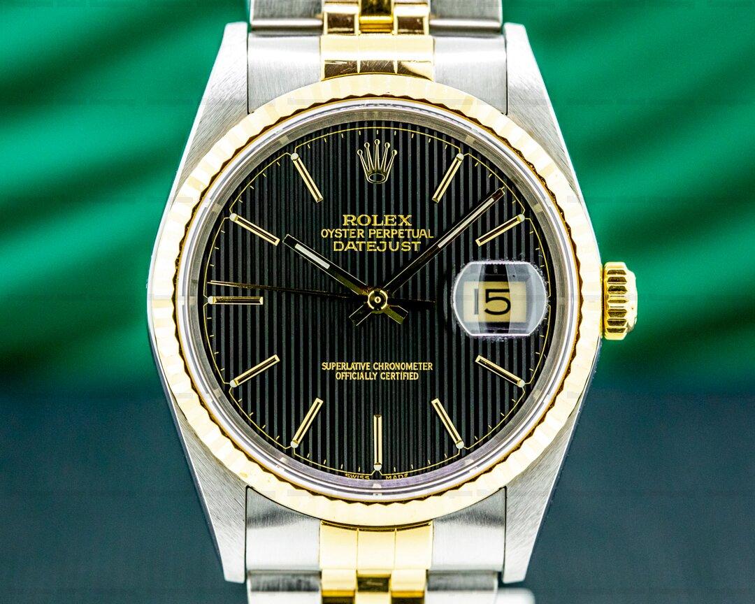 Rolex Datejust 18K / SS Black Tapestry Dial Ref. 16233