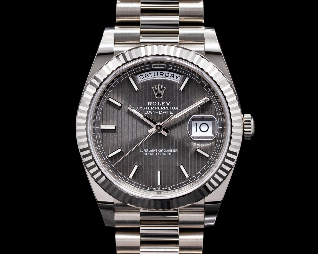 Rolex Day Date 228239 40MM Presiden 18K WG Rhodium Pinstripe 2021 Ref. 228239