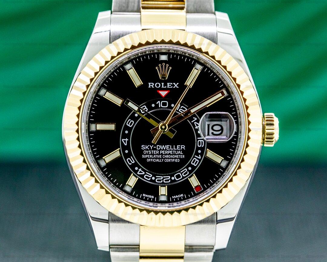 Rolex Sky Dweller 326933 Steel & Yellow Gold Black Dial Ref. 326933