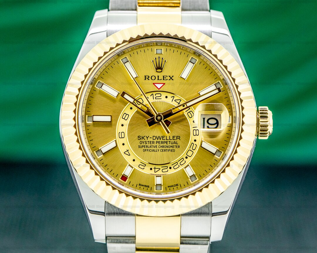 Rolex Sky Dweller 326933 Steel & Yellow Gold Champagne Dial Ref. 326933
