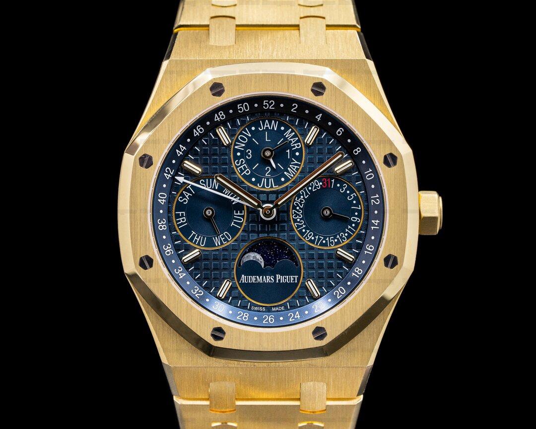 Audemars Piguet Royal Oak 26574BA Perpetual Calendar 18k yellow Gold Blue Dial Ref. 26574BA.OO.1220BA.01