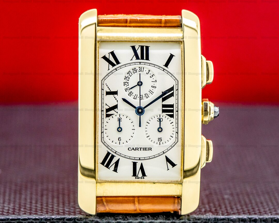 Cartier Tank Americaine Chronograph 18K Yellow Gold BOX AND PAPERS Ref. W2601156