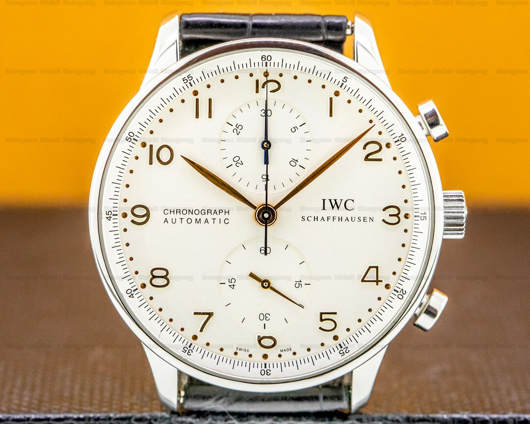 IWC Portuguese Chronograph Silver Dial Gold Numerals SS Ref. 371401