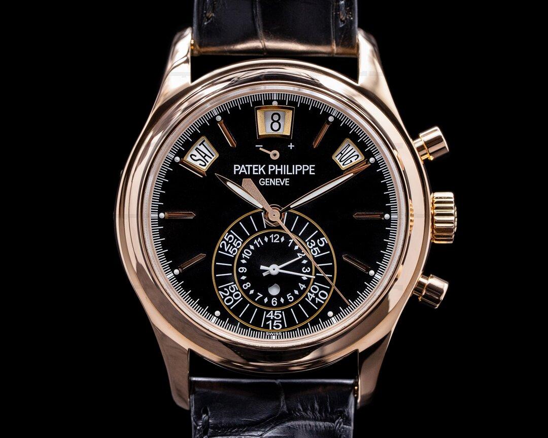 Patek Philippe Annual Calendar 5960R Chronograph 18K Rose Gold Black Dial Ref. 5960R-010
