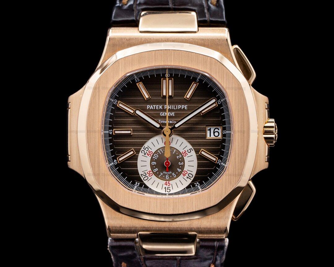 Patek Philippe Nautilus Chronograph 5980R TIFFANY & CO 18K Rose Gold FULL SET Ref. 5980R-001 TIFFANY